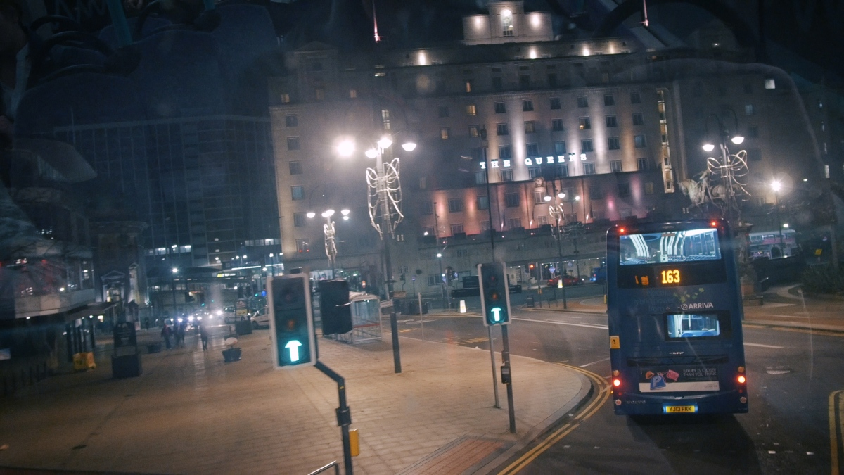 Queens Hotel Leeds Train Station Bus Night GH4 4K Panasonic