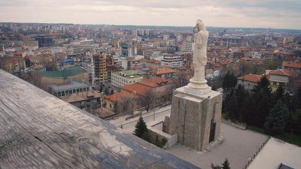 Virgin Mary with Baby Jesus Monument Statue Haskovo Bulgaria